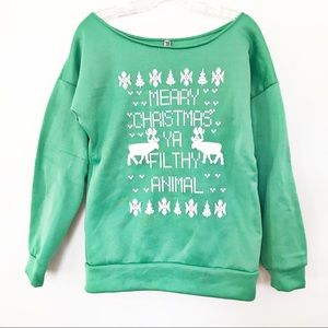 'Merry Christmas Ya Filthy Animal' Sweatshirt | L